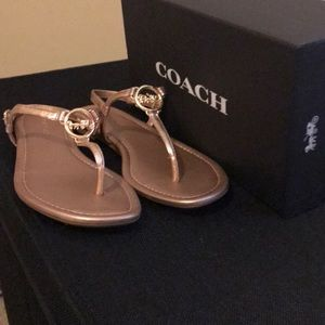 Coach Rose Gold Jazmin Metal Sandal.